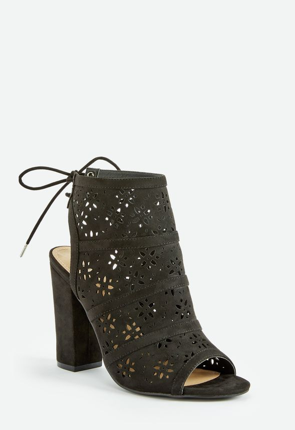 2e32f36c374c9 Flower Power Perforated Open Toe Bootie in Black - Get great deals ...
