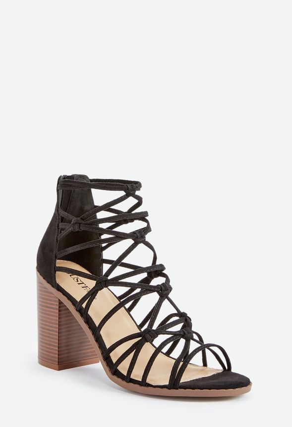 ee3dc62b30e Stacked   Strapped Block Heel Sandal in Black - Get great deals at JustFab