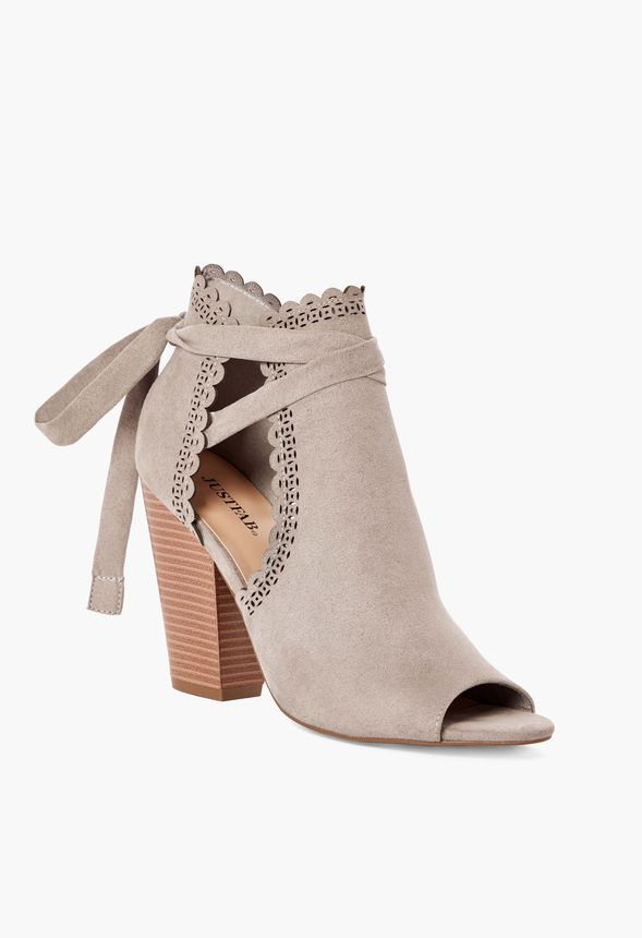 4036f76c6 Just For Fun Open Toe Ankle Tie Heeled Sandal in Gray - Get great ...