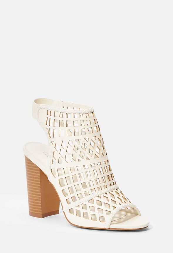 d6e4cabff87 Malika Caged Heeled Sandal in Bone - Get great deals at JustFab