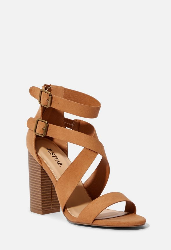 b32156ffbcd Amelia Strappy Heeled Sandal in Camel - Get great deals at JustFab
