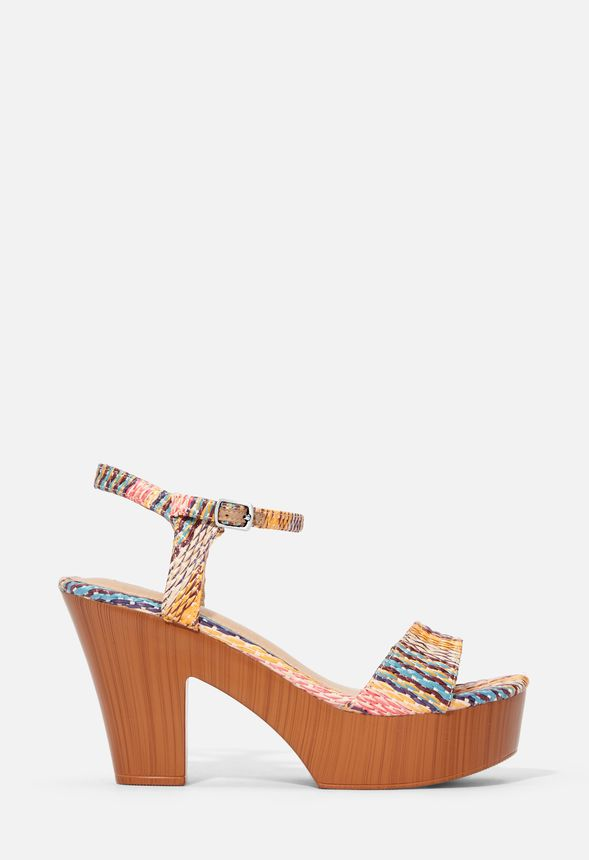 Hello Sunshine Platform Heeled Sandal in MULTI-STRIPE - Get