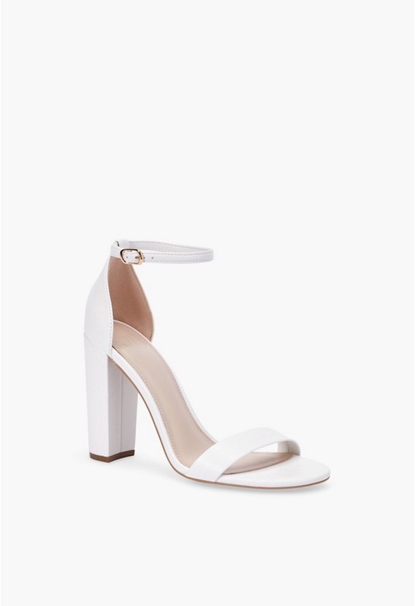 Lorelai Block Heeled Sandal in White