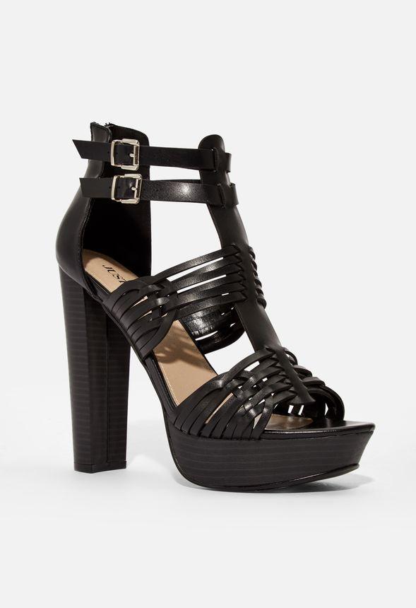 Reeta Platform Heeled Sandal in Black