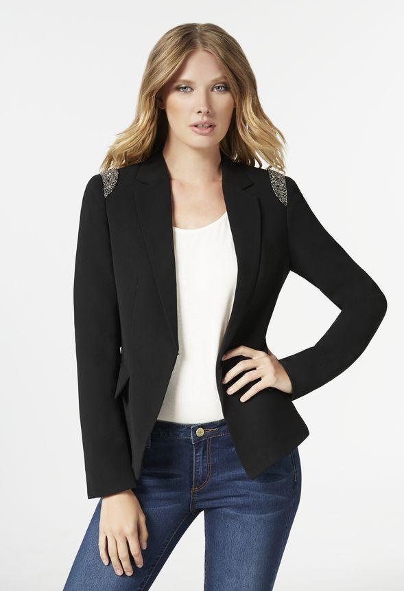Embellished Blazer In Black Get Great Deals At Justfab