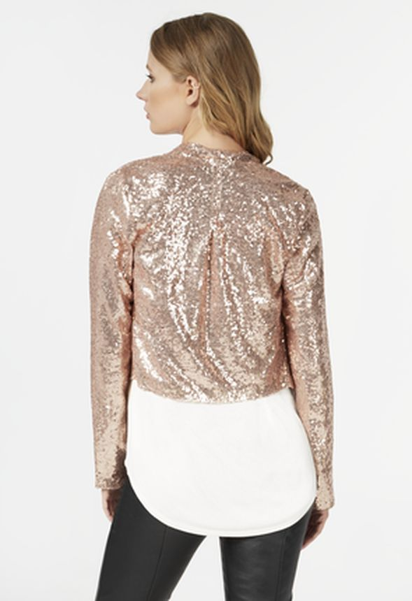 021dff5e668 Sequin Drape Front Blazer in Rose Gold - Get great deals at JustFab