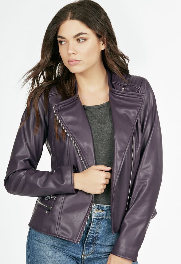a2665bb65df Faux Leather Moto Jacket in Plum - Get great deals at JustFab