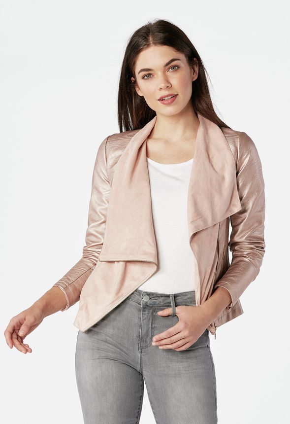 e972df9f51d4 Faux Leather Waterfall Jacket in Rose Gold - Get great deals at JustFab