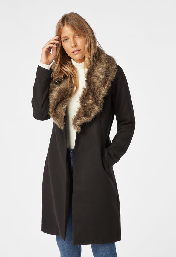abdca5d92 Faux Fur Trim Coat in Black - Get great deals at JustFab