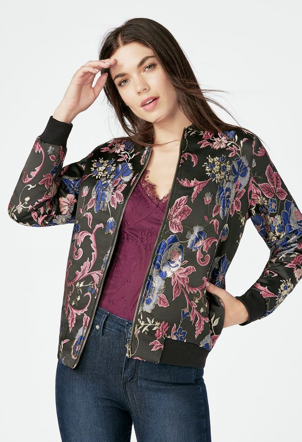 7f6bfd743 Jacquard Bomber Jacket in Black Multi - Get great deals at JustFab