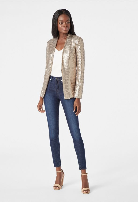 5497510a Sequin Blazer in Gold - Get great deals at JustFab