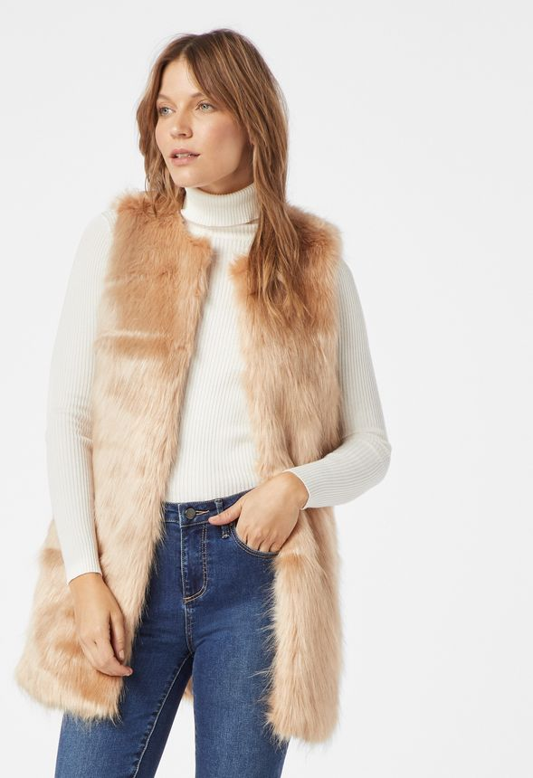 a41c63e0381 Long Faux Fur Vest in blush camel - Get great deals at JustFab