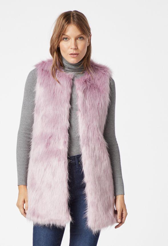 c4501f5b347 Long Faux Fur Vest in keepsake lilac - Get great deals at JustFab