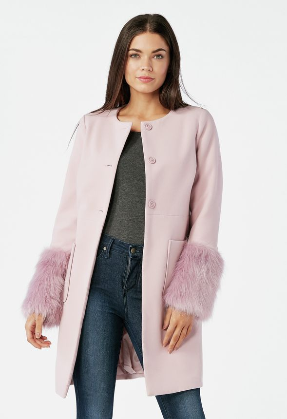 7419a7ff642 Removable Faux Fur Sleeve Coat in Keepsake Lilac - Get great deals at  JustFab