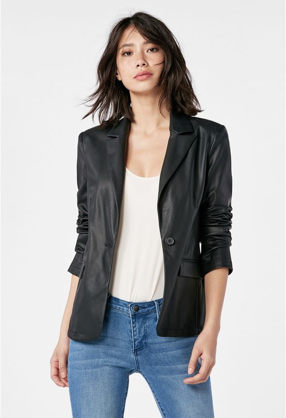 db9a782b0c3 Faux Leather Blazer in Black - Get great deals at JustFab
