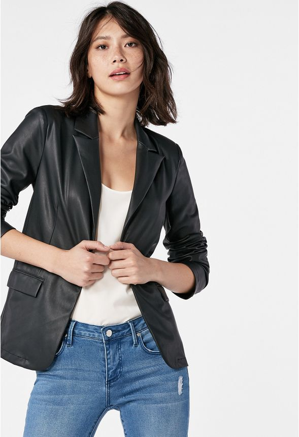 51dd20b0dd2 Faux Leather Blazer in Black - Get great deals at JustFab