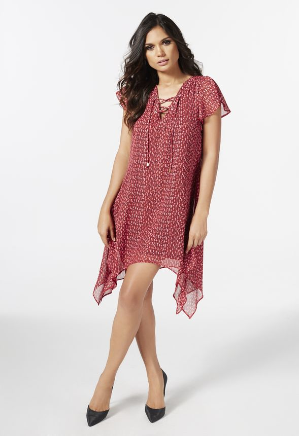 252fd48187a4 Lace Up Front Dress in red multi - Get great deals at JustFab