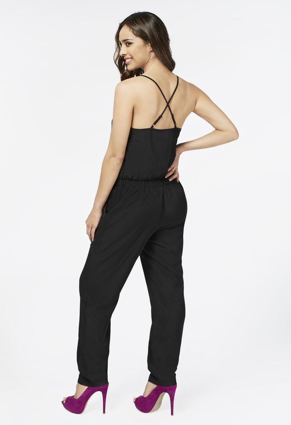 a869238cd122 Cross Over Tank Jumpsuit in Black - Get great deals at JustFab