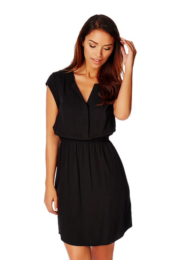 Cap Sleeve Shirt Dress in Black - Get great deals at JustFab 898b3fcd6