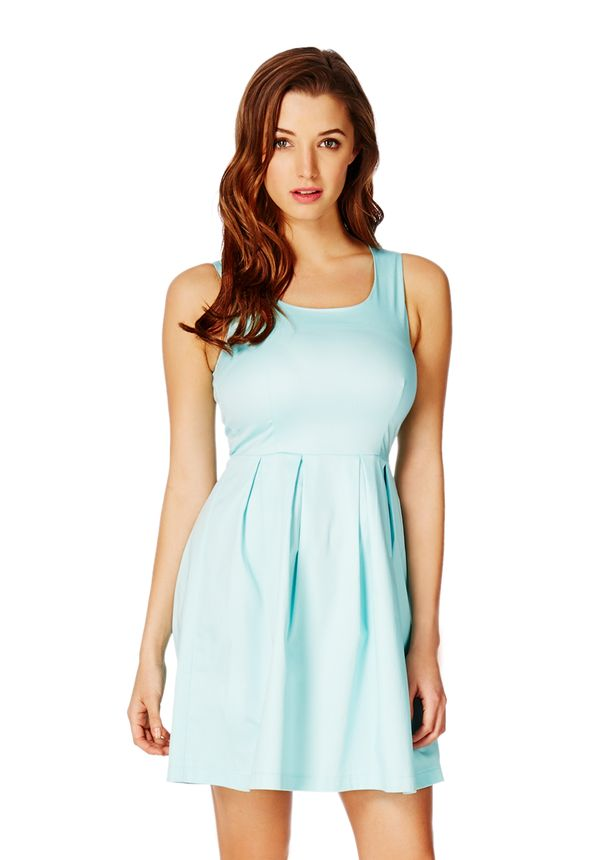 eddc8a7aae Square-Neck Fit And Flare Dress in Seafoam - Get great deals at JustFab