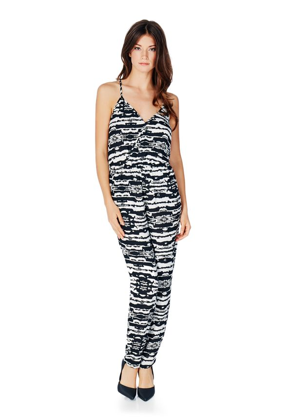 af285c86f8f7 Cross Over Tank Jumpsuit in Black Multi - Get great deals at JustFab