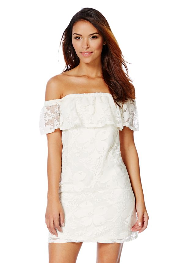 9df072159e9f Lace Off-Shoulder Dress in White - Get great deals at JustFab