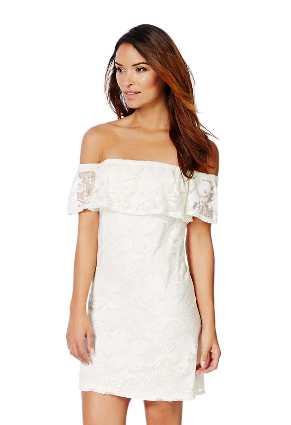 a83c5ecf2913 Lace Off-Shoulder Dress in White - Get great deals at JustFab