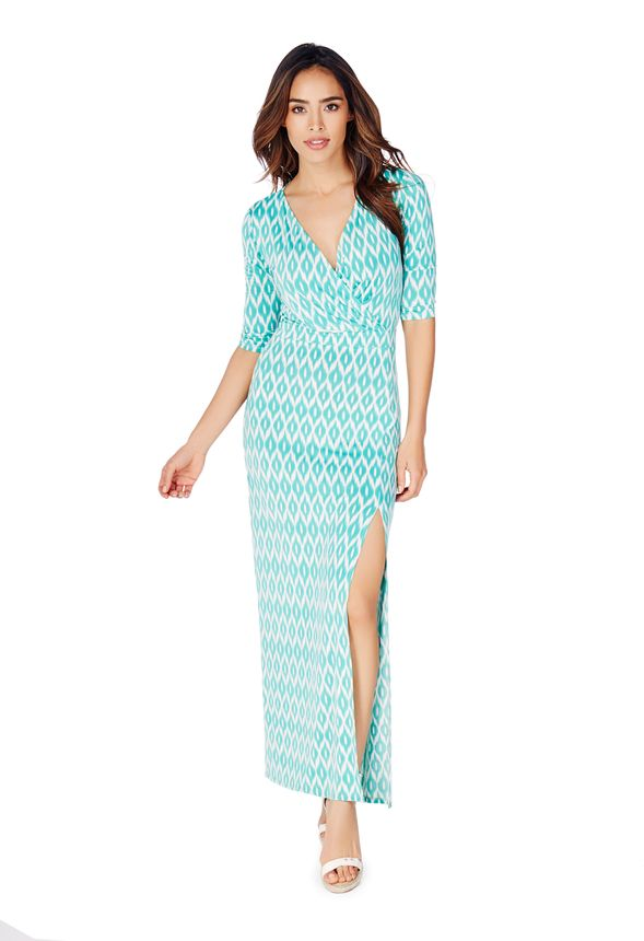 Wrap Front Slit Maxi Dress in Teal Multi - Get great deals at JustFab 132fb79c3