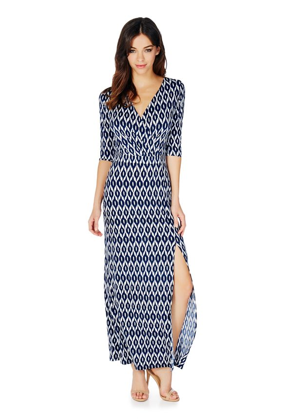 Wrap Front Slit Maxi Dress in Navy Multi - Get great deals at JustFab 4ae6bf8b6