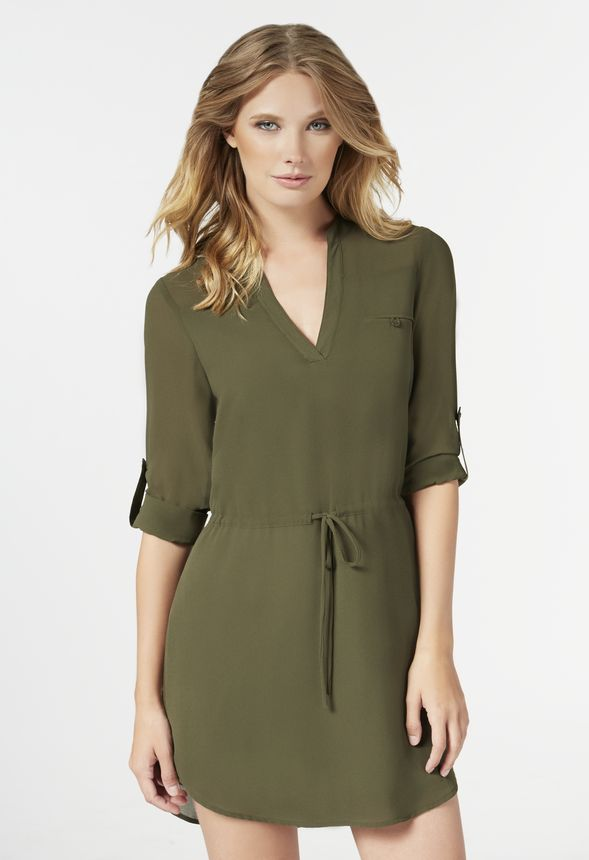 44bf11e268ee Long Sleeve Shirt Dress in Olive - Get great deals at JustFab