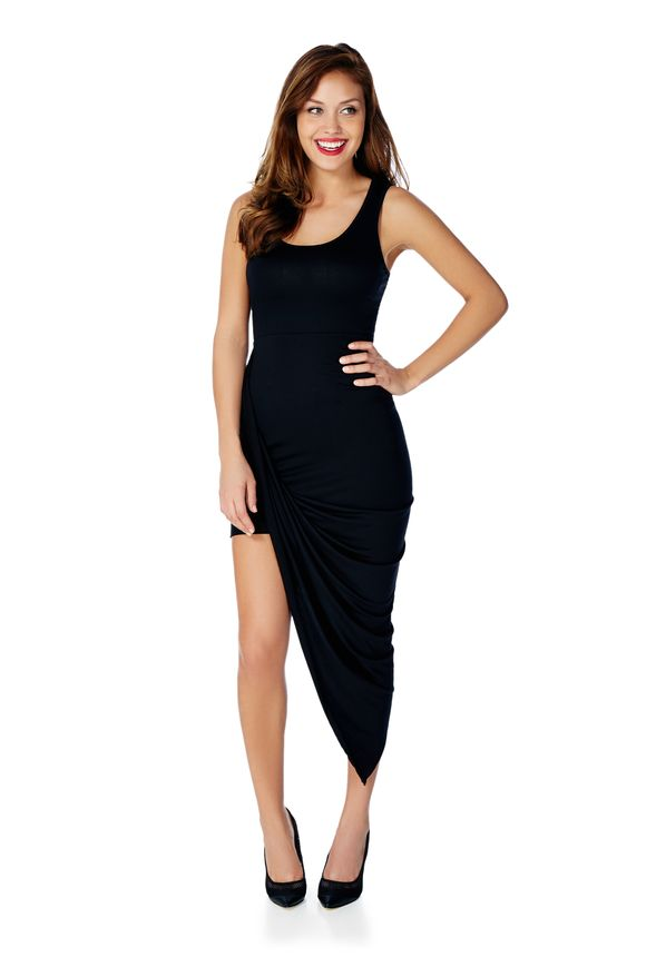 b132a0206929 Asymmetrical Knit Tank Dress in Black - Get great deals at JustFab
