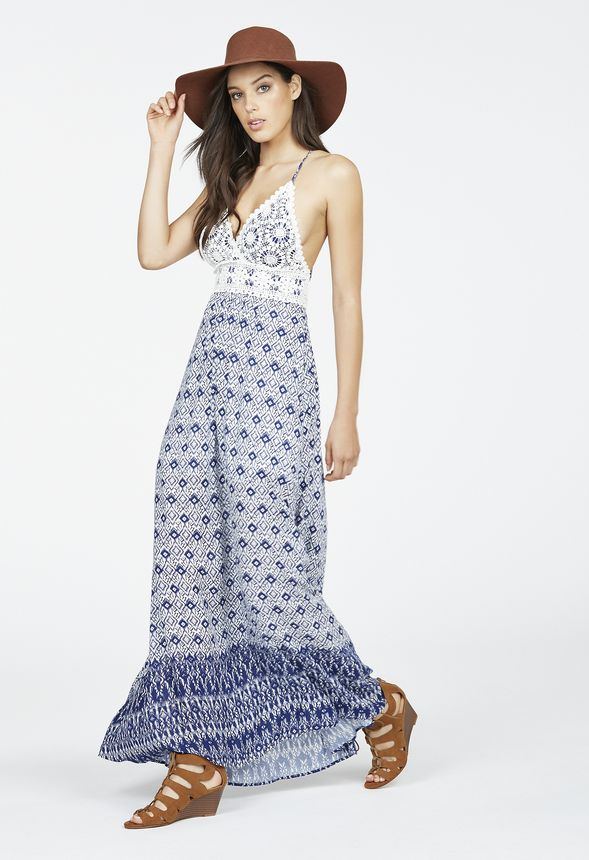 0c87781afc Printed Crochet Maxi Dress in Blue Multi - Get great deals at JustFab