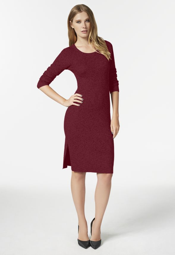 7b2e9a81362 Side Slit Sweater Dress in Burgundy - Get great deals at JustFab