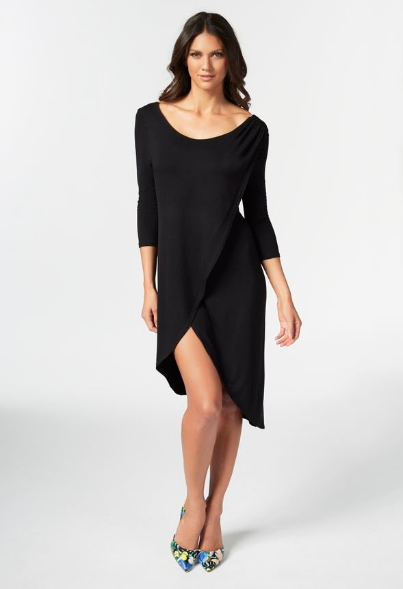 79b724603d3 Asymmetrical Knit Dress in Black - Get great deals at JustFab