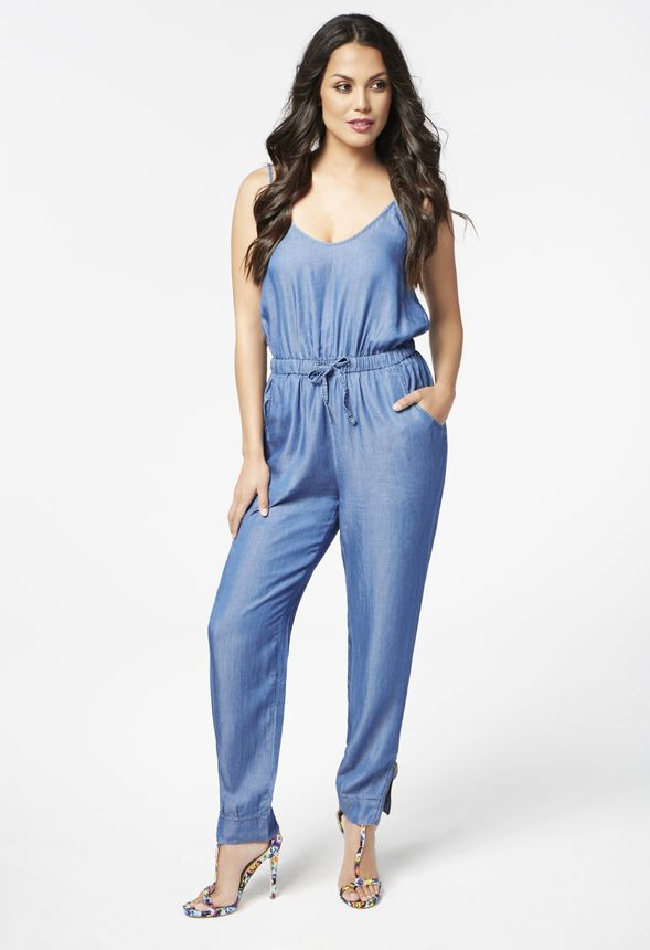 40213a762b3a Chambray Jumpsuit in Blue - Get great deals at JustFab
