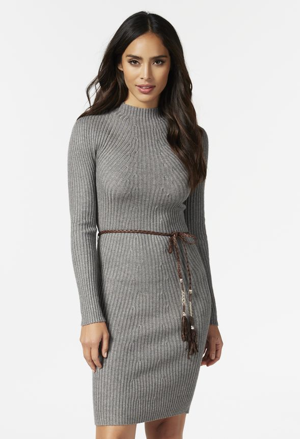 2b2b681fd11a7 Mock Neck Sweater Dress in Gray - Get great deals at JustFab