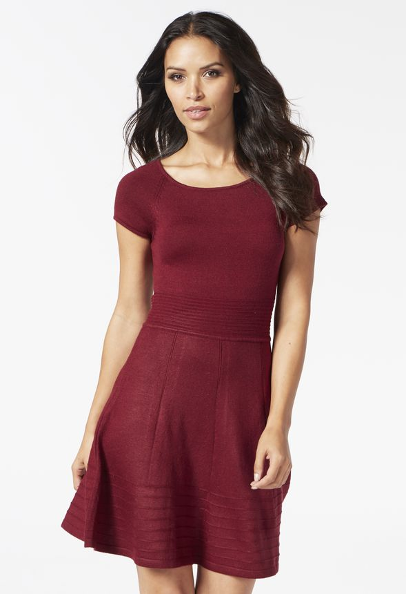 2b36c6f33777 Sweater Fit And Flare Dress in Burgundy - Get great deals at JustFab