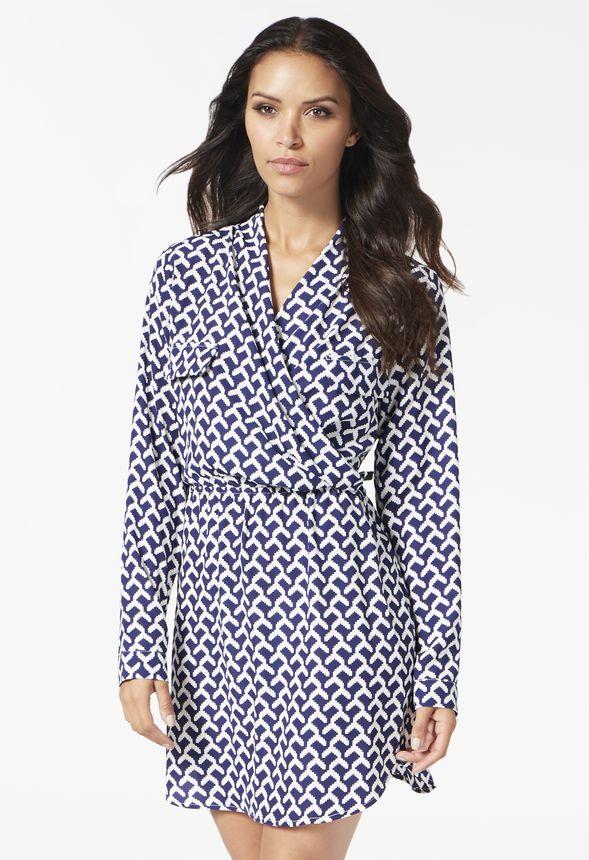 aa353d63de4cd Soft Faux Wrap Dress in Navy Multi - Get great deals at JustFab
