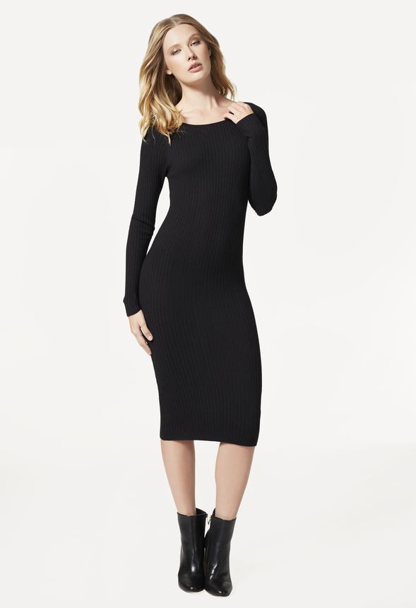 Crewneck Ribbed Sweater Dress in Black - Get great deals at JustFab