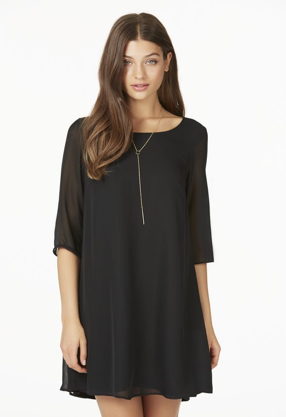 906d003787b4 Long Sleeve Trapeze Dress in Black - Get great deals at JustFab