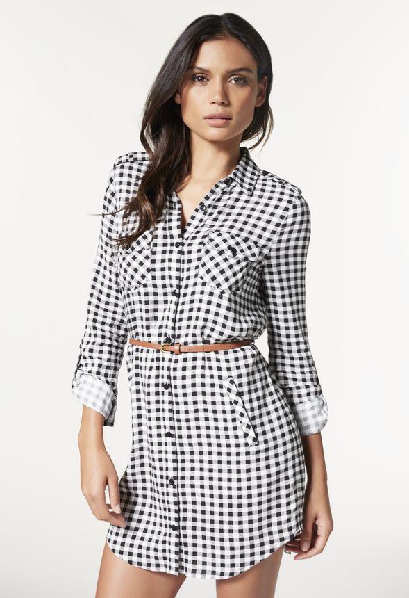 Plaid Belted Shirt Dress in Black - Get great deals at JustFab f183b1b80
