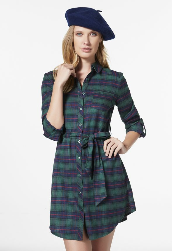 3bc78fb7720 Flannel Plaid Shirt Dress in Green Multi - Get great deals at JustFab