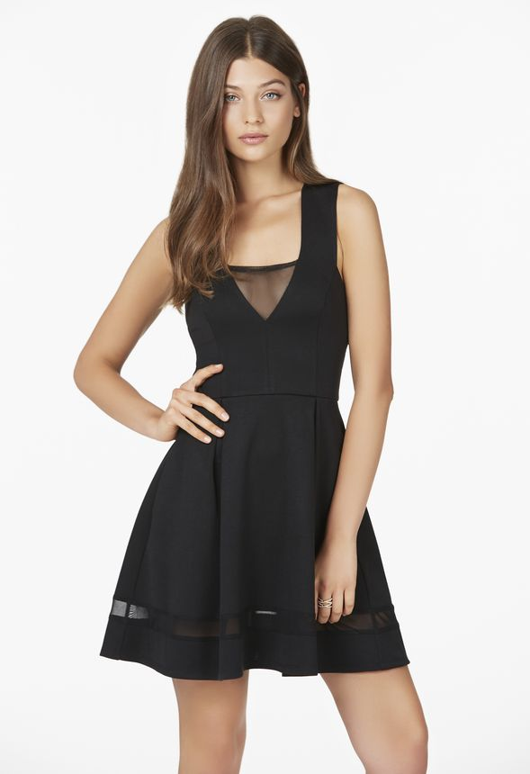 e06bb13073b Mesh Cut Out Fit And Flare Dress in Black - Get great deals at JustFab