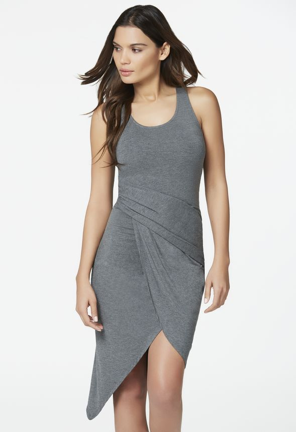 60882799d61654 Asymmetrical Ruched Knit Dress in heather grey - Get great deals at JustFab