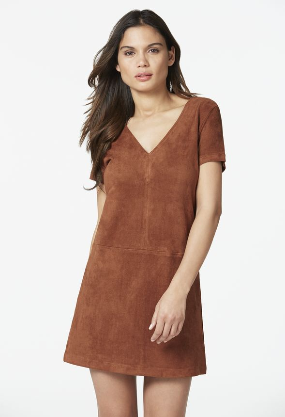 2400fb060cc Faux Suede Shift Dress in Chocolate - Get great deals at JustFab
