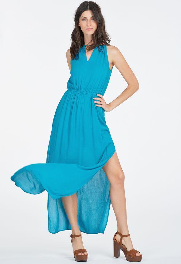 af4ef7bfa Goddess Side Slit Dress in Caribbean - Get great deals at JustFab