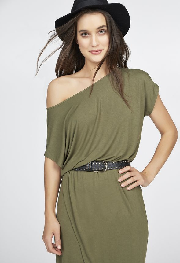 72aa5f67b5122 Slouchy Off Shoulder Wrap Dress in Olive - Get great deals at JustFab