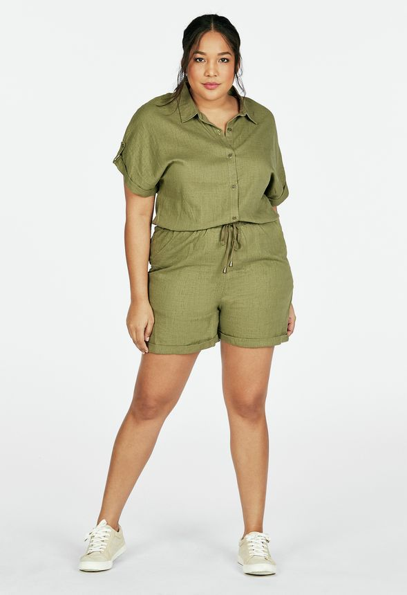 d04a88fd4bf Linen Button Down Romper in Olive - Get great deals at JustFab