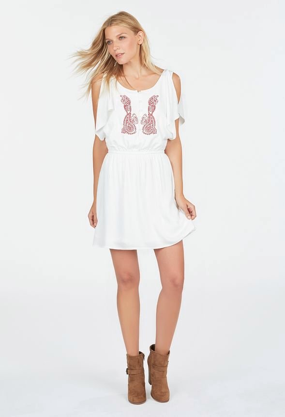 a1c862a51f91 Embroidered Flutter Sleeve Dress in Vintage White - Get great deals at  JustFab