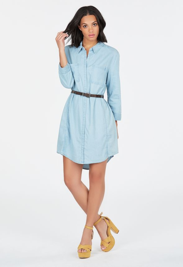 Chambray Belted Shirt Dress In Blue Cloud Get Great